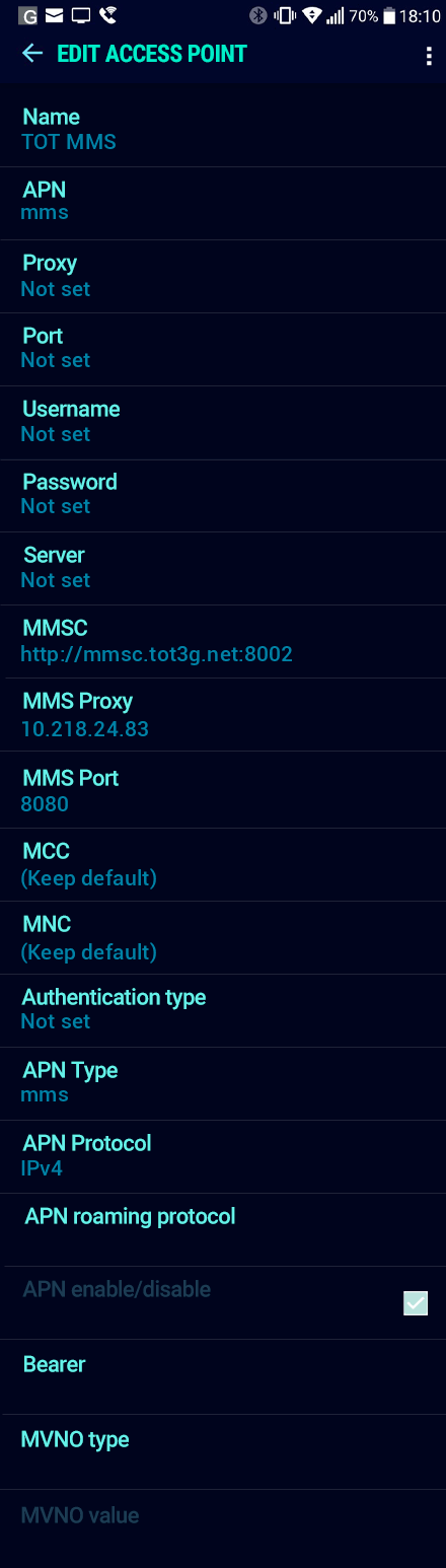 TOT MMS APN settings for Android Nougat screenshot