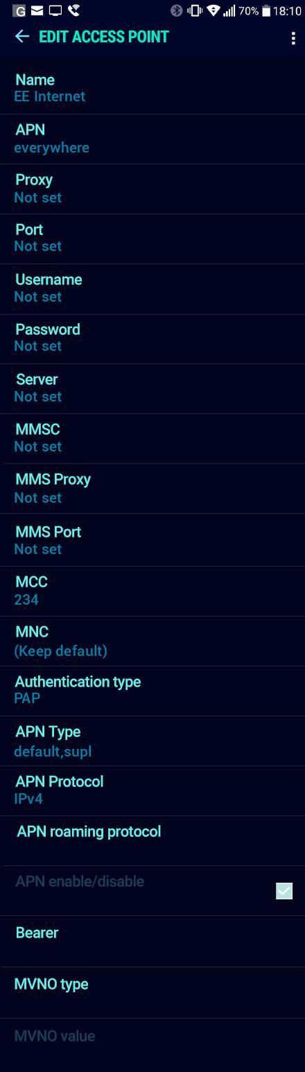 EE Internet APN settings for Android Nougat screenshot