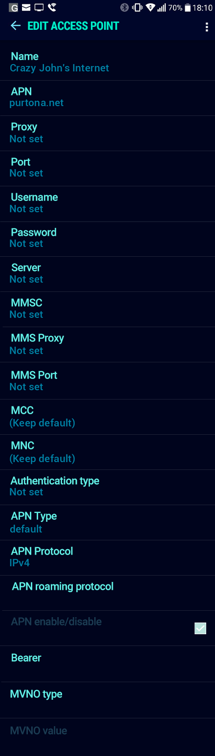 Crazy John's Internet APN settings for Android Nougat screenshot