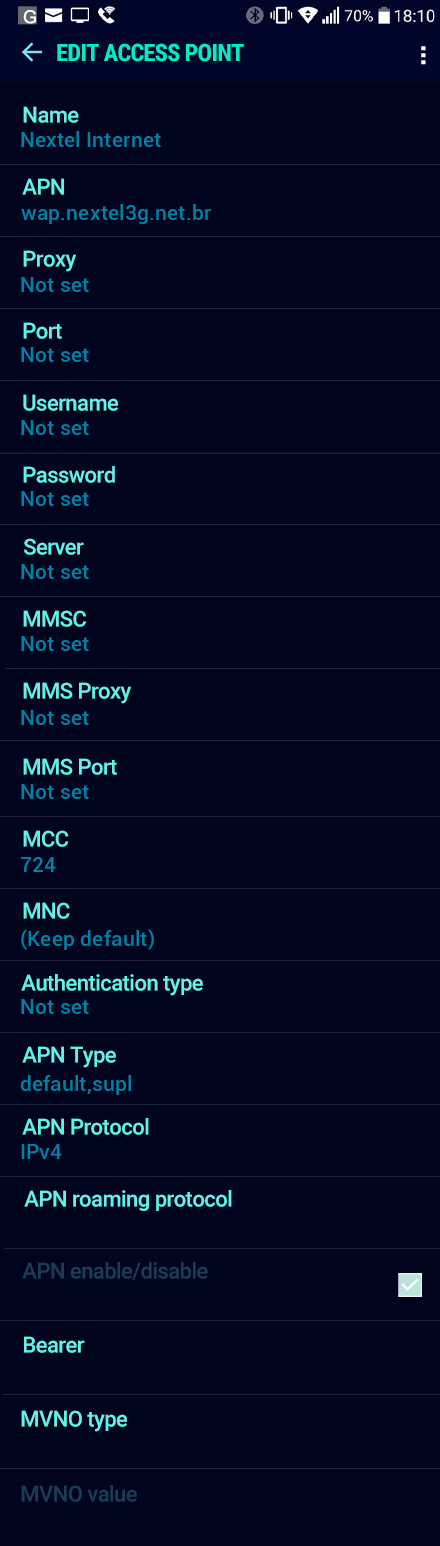 Nextel Internet APN settings for Android Nougat screenshot