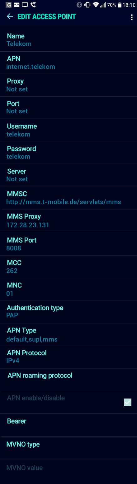 Telekom  APN settings for Android Nougat screenshot