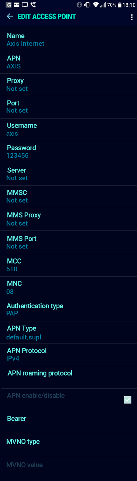 Axis Internet APN settings for Android Nougat screenshot
