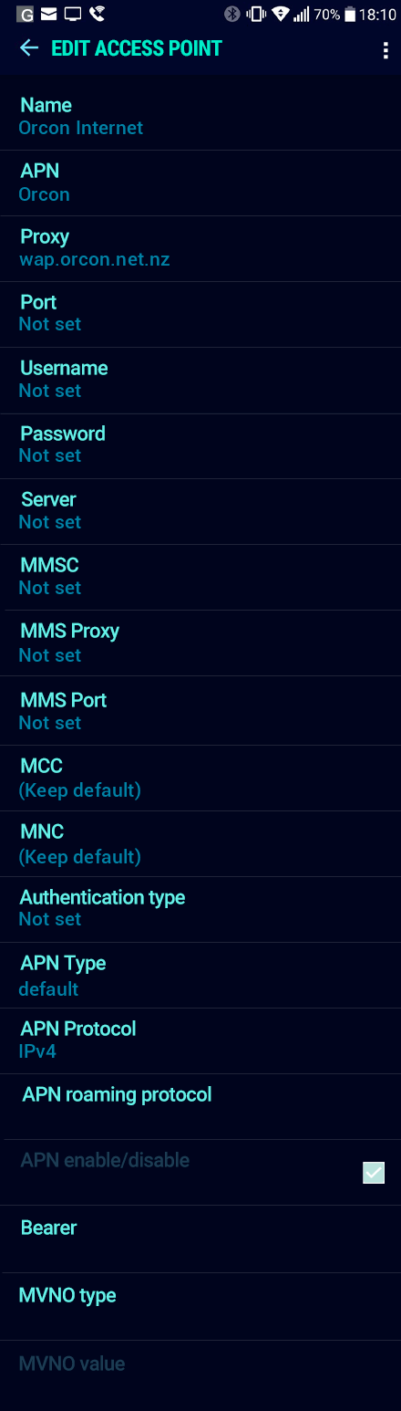 Orcon Internet APN settings for Android Nougat screenshot