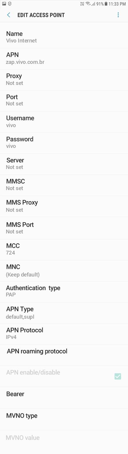 Vivo Internet APN settings for Android Oreo screenshot