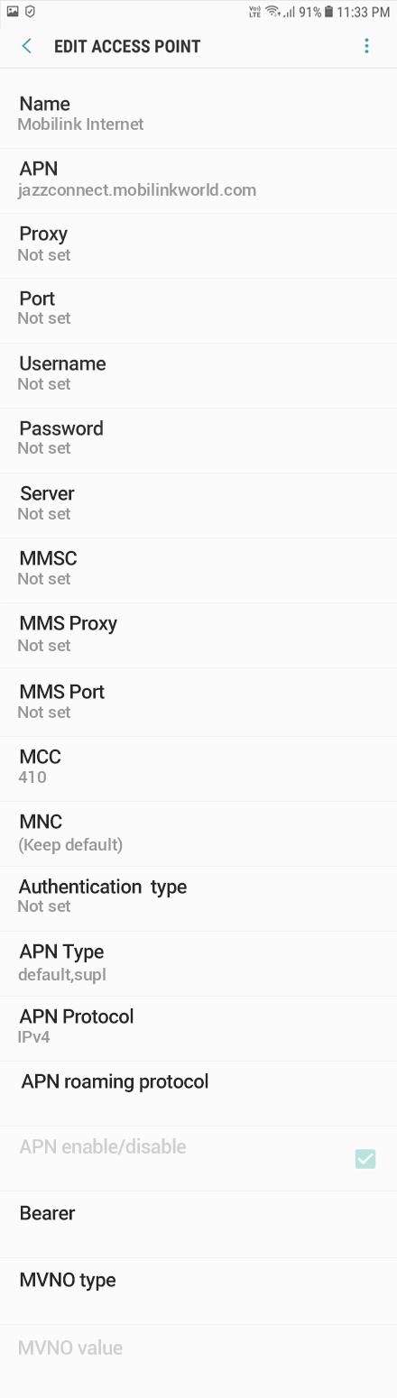Mobilink Internet APN settings for Android Oreo screenshot