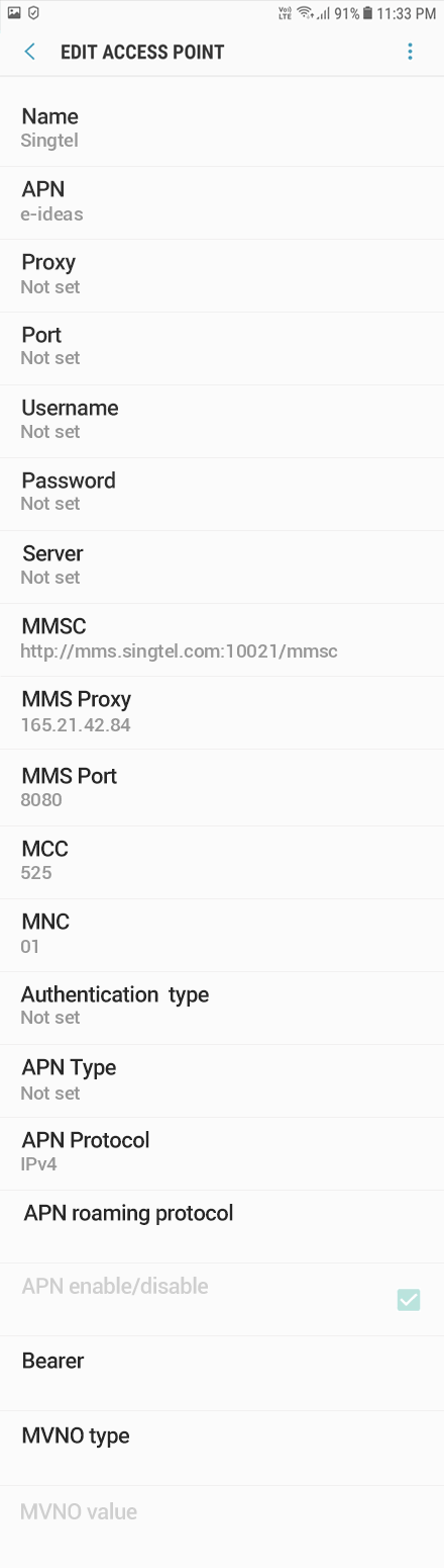 Singtel  APN settings for Android Oreo screenshot