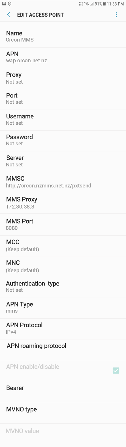 Orcon MMS APN settings for Android Oreo screenshot