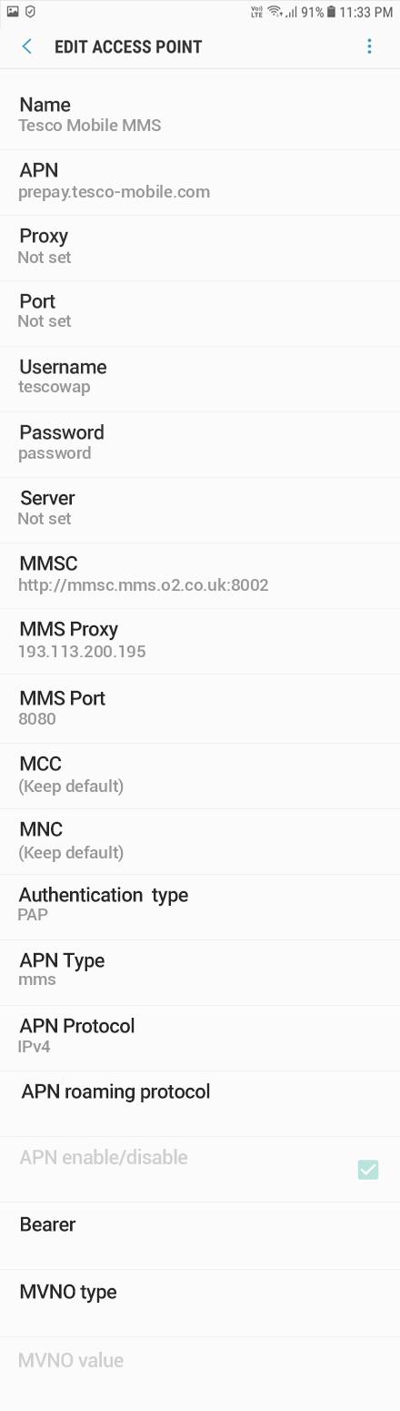 Tesco Mobile MMS APN settings for Android Oreo screenshot