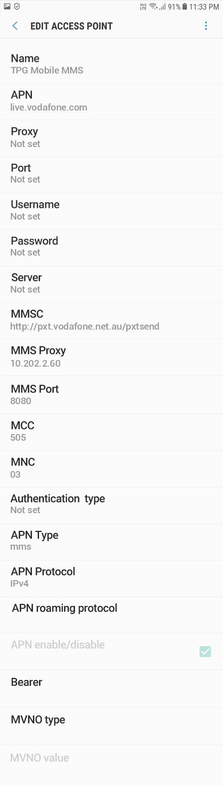 TPG Mobile MMS APN settings for Android Oreo screenshot