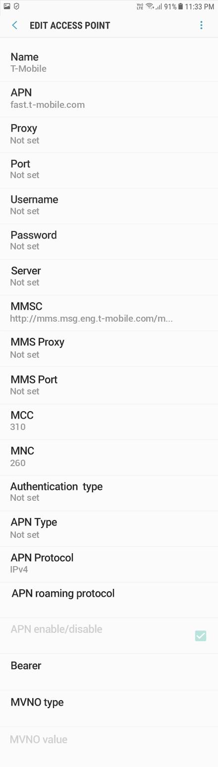 T-Mobile  APN settings for Android Oreo screenshot