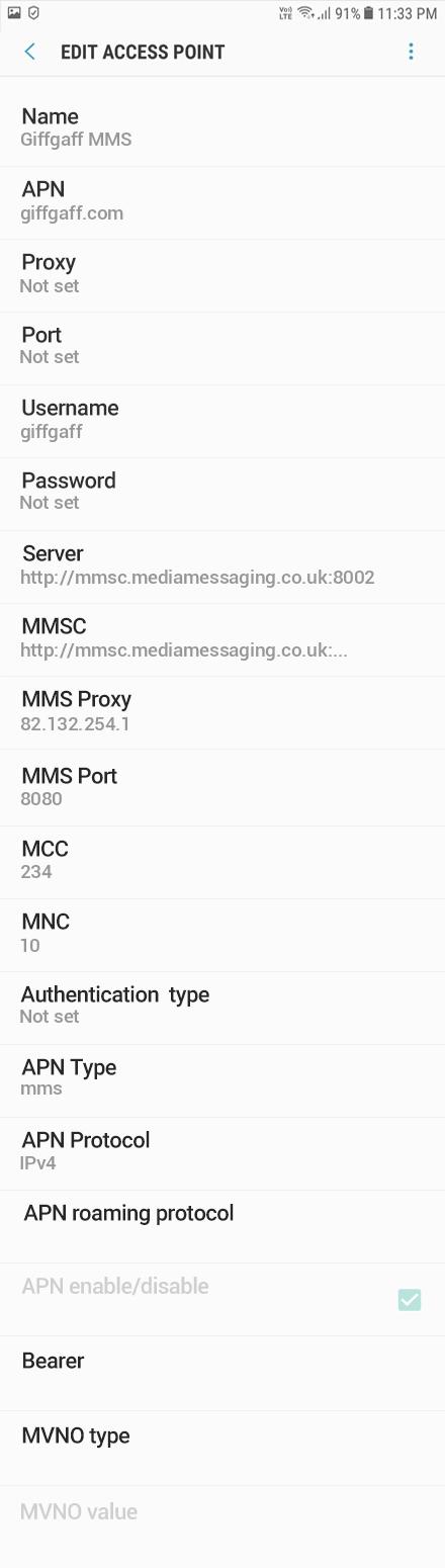 Giffgaff MMS APN settings for Android Oreo screenshot