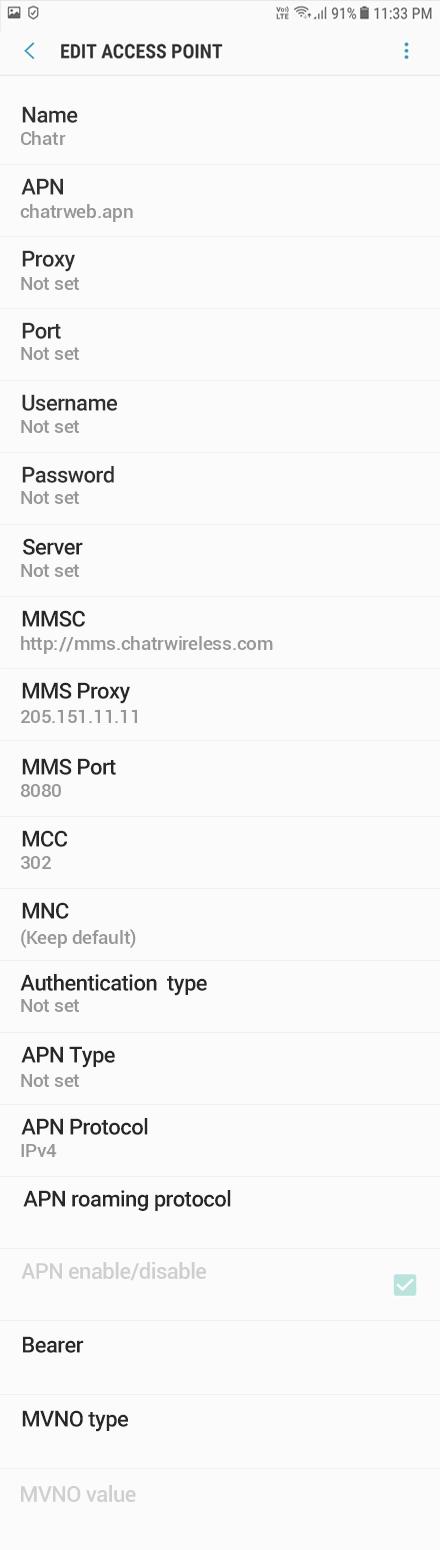 Chatr  APN settings for Android Oreo screenshot
