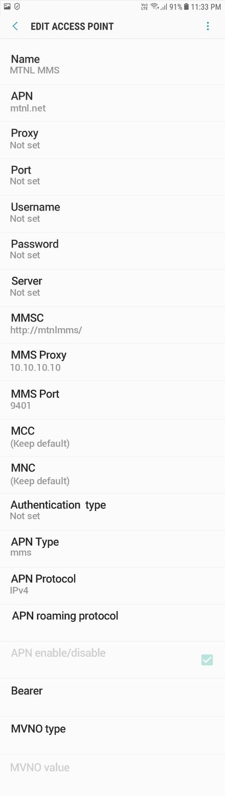 MTNL MMS APN settings for Android Oreo screenshot