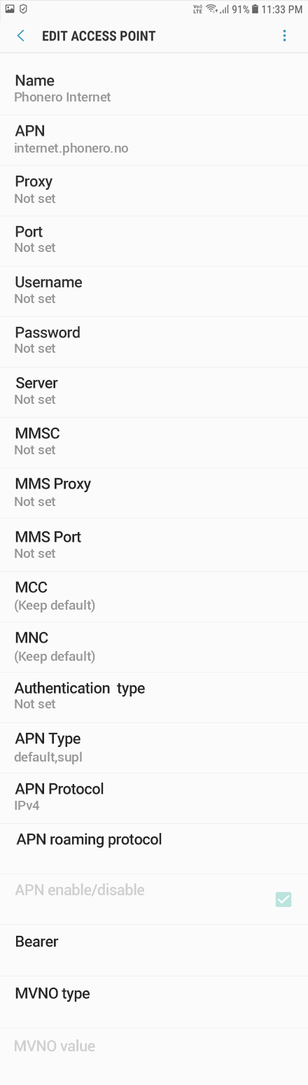 Phonero Internet APN settings for Android Oreo screenshot