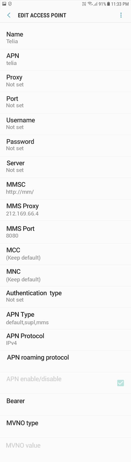 Telia  APN settings for Android Oreo screenshot