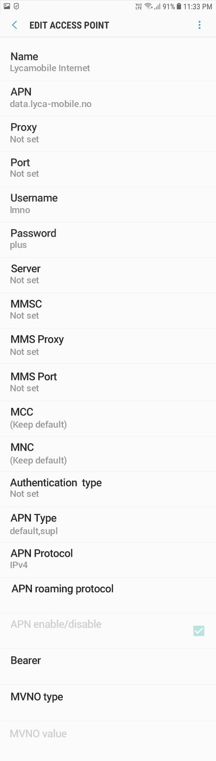 Lycamobile Internet APN settings for Android Oreo screenshot