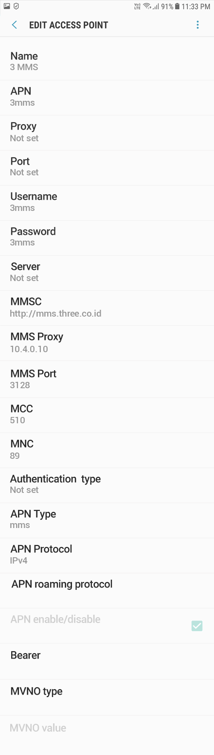 3 MMS APN settings for Android Oreo screenshot