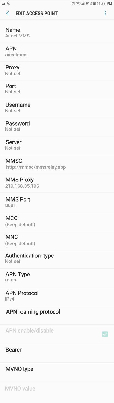 Aircel MMS APN settings for Android Oreo screenshot