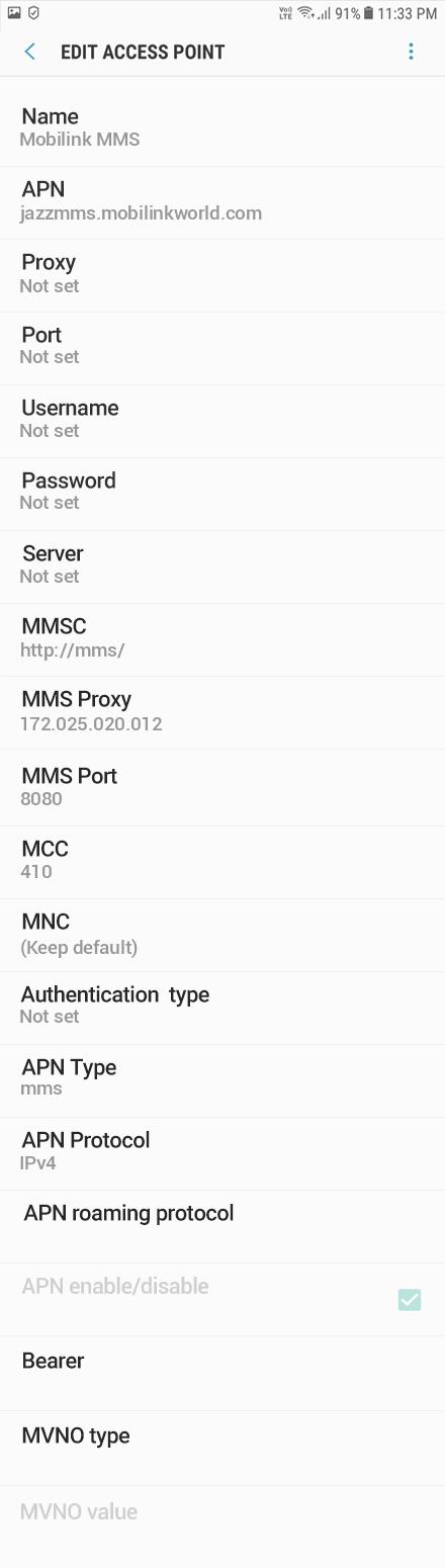 Mobilink MMS APN settings for Android Oreo screenshot