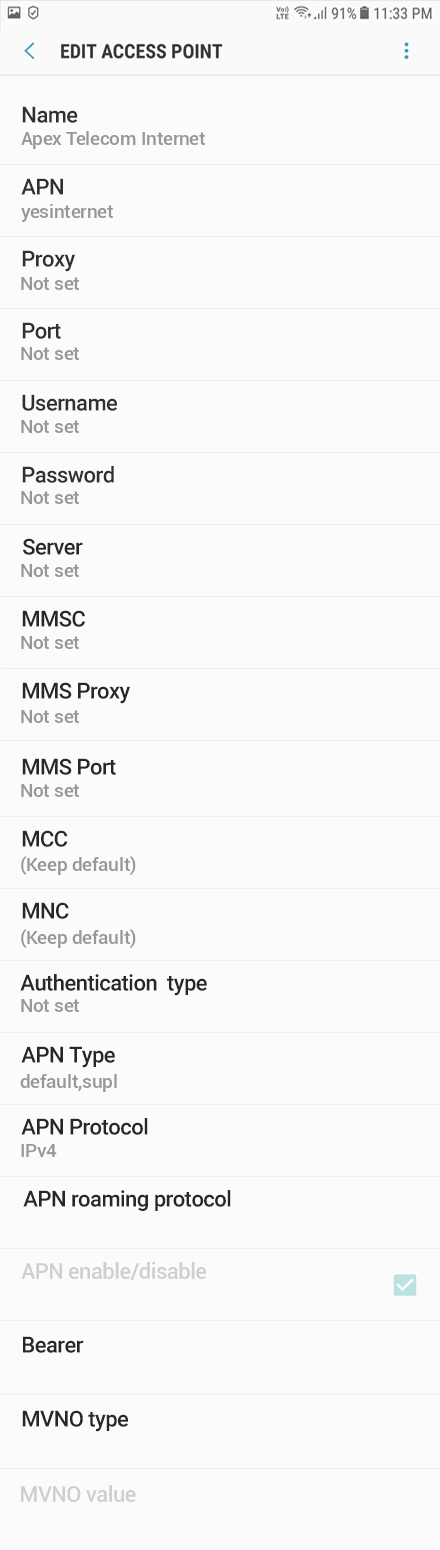 Apex Telecom Internet APN settings for Android Oreo screenshot