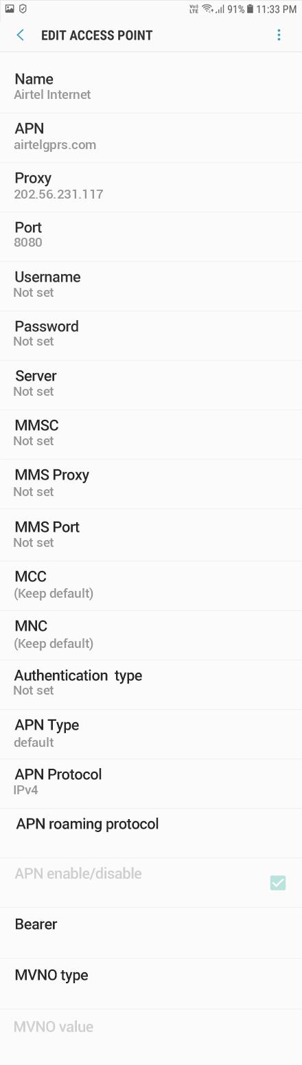 Airtel Internet APN settings for Android Oreo screenshot