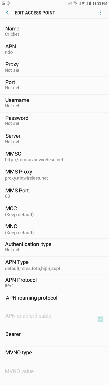 Cricket  APN settings for Android Oreo screenshot