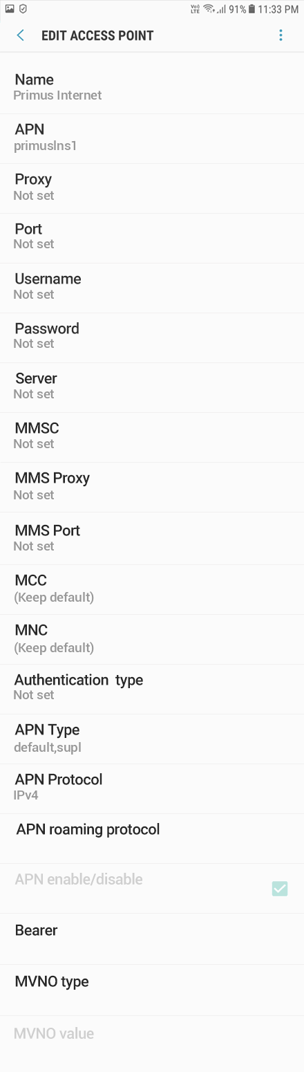 Primus Internet APN settings for Android Oreo screenshot