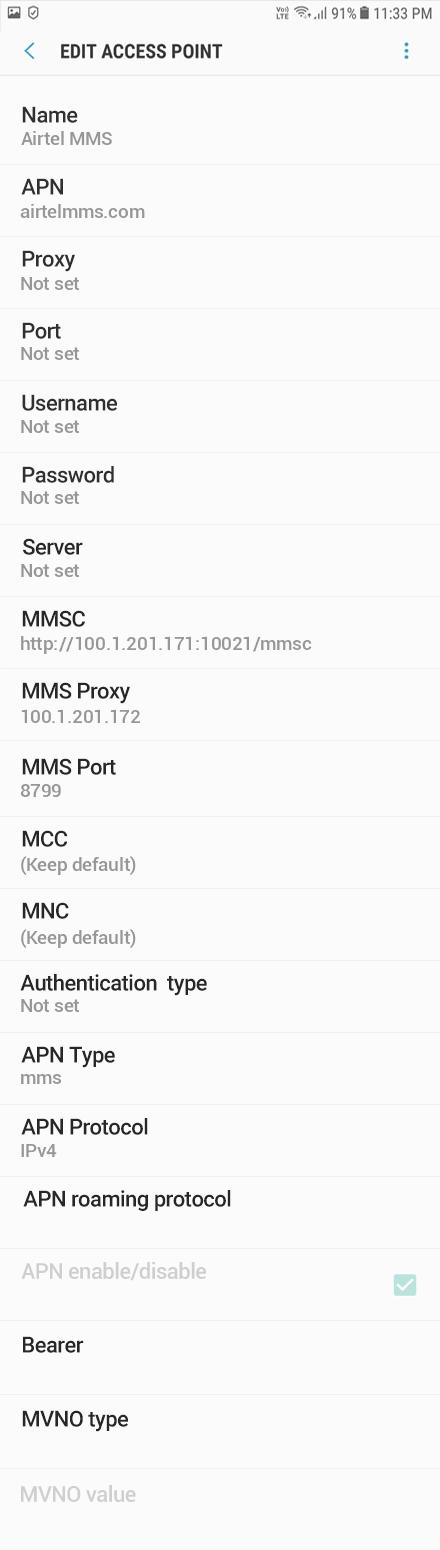 Airtel MMS APN settings for Android Oreo screenshot