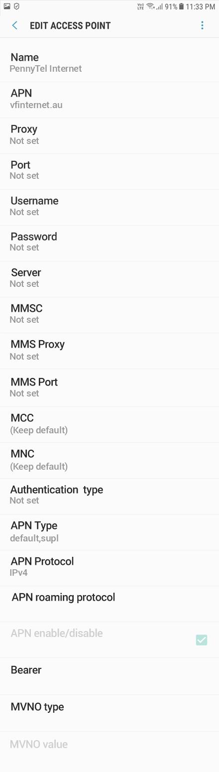 PennyTel Internet APN settings for Android Oreo screenshot