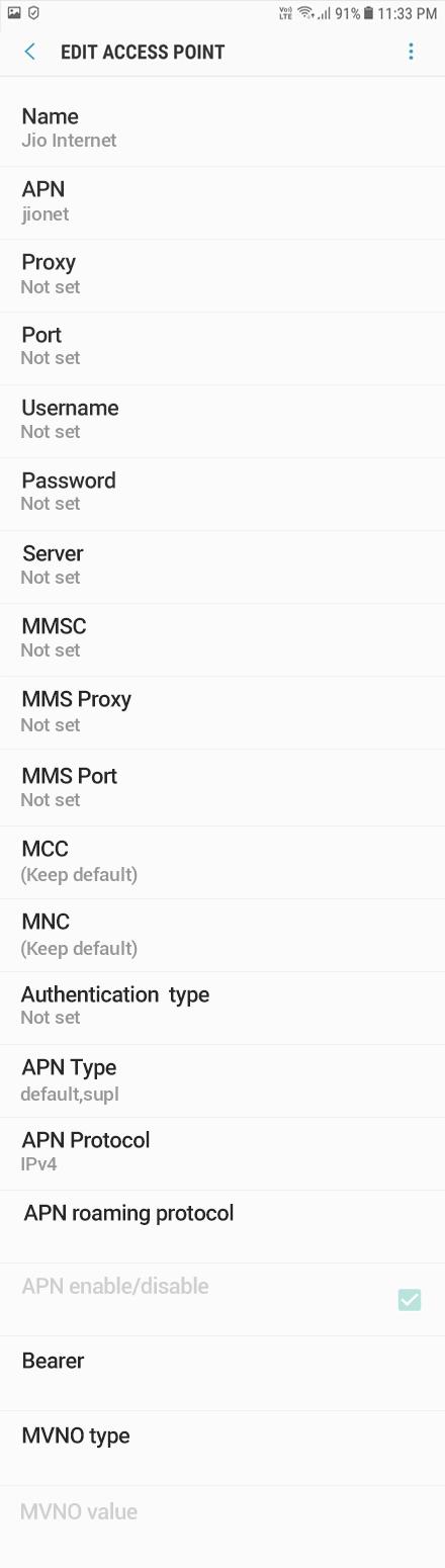 Jio Internet APN settings for Android Oreo screenshot
