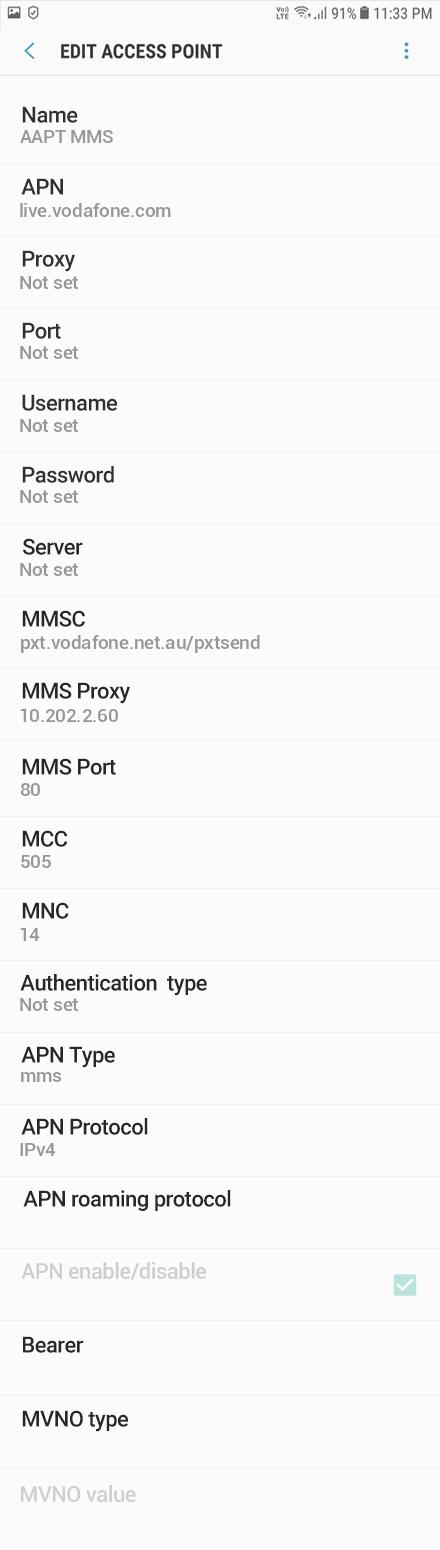 AAPT MMS APN settings for Android Oreo screenshot