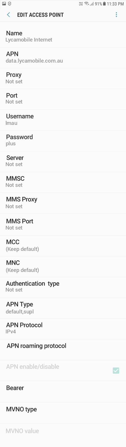 Lycamobile Internet APN settings for Android Oreo screenshot