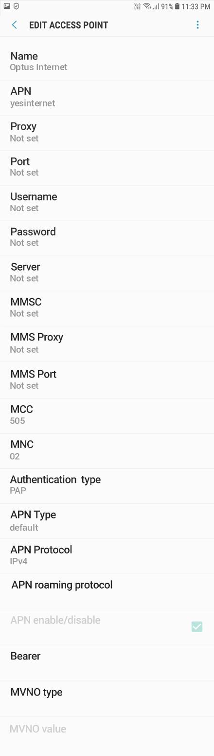 Optus Internet APN settings for Android Oreo screenshot