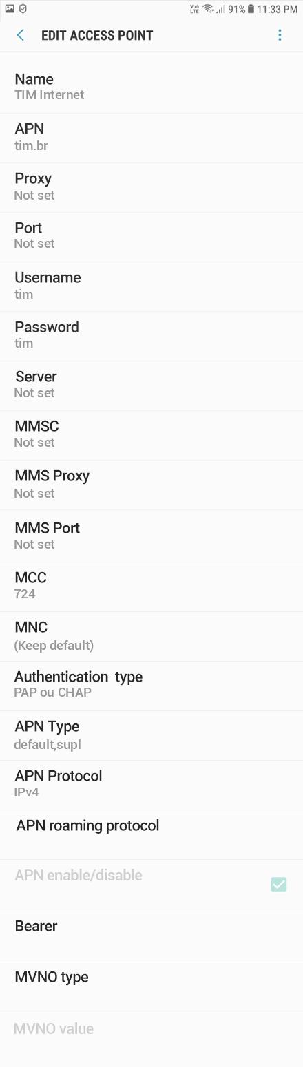 TIM Internet APN settings for Android Oreo screenshot