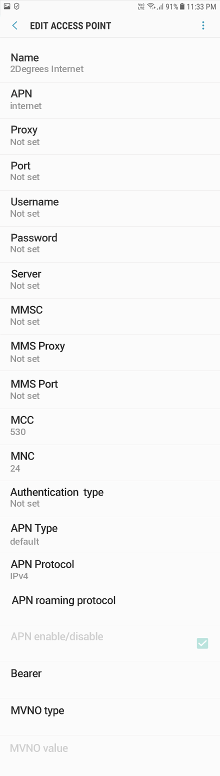 2Degrees Internet APN settings for Android Oreo screenshot