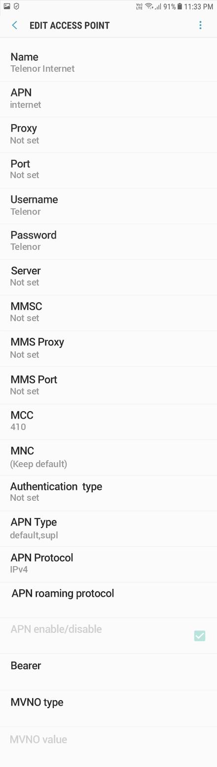 Telenor Internet APN settings for Android Oreo screenshot