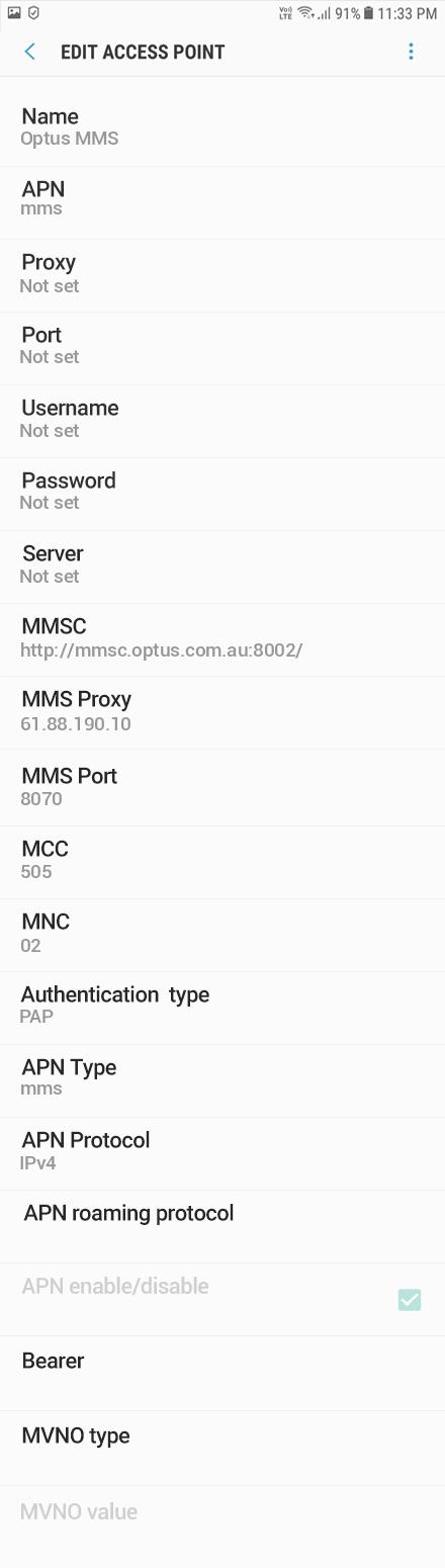 Optus MMS APN settings for Android Oreo screenshot