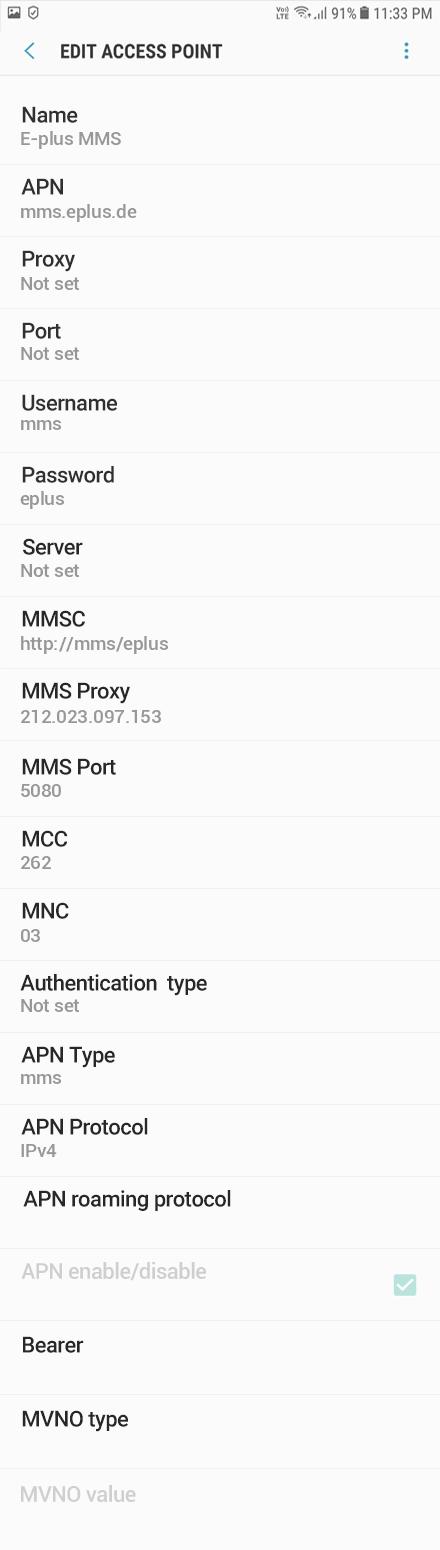 E-plus MMS APN settings for Android Oreo screenshot