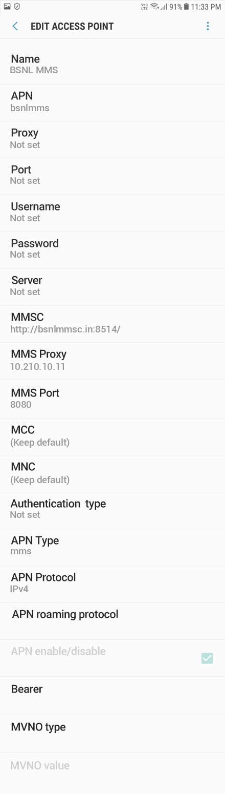 BSNL MMS APN settings for Android Oreo screenshot