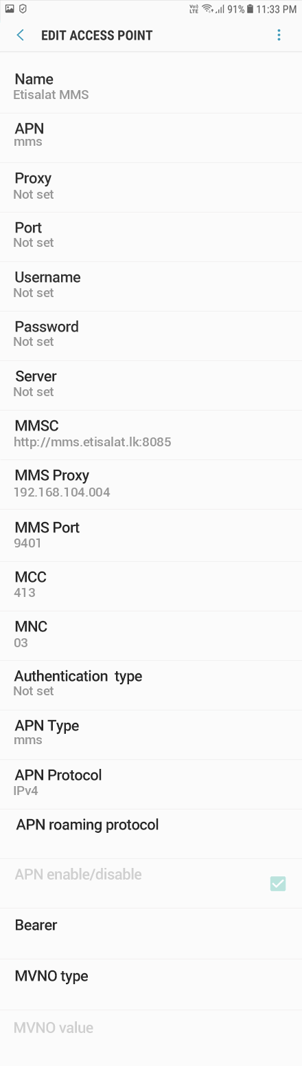 Etisalat MMS APN settings for Android Oreo screenshot