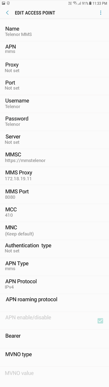 Telenor MMS APN settings for Android Oreo screenshot