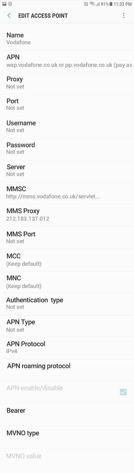 Vodafone  APN settings for Android Oreo screenshot