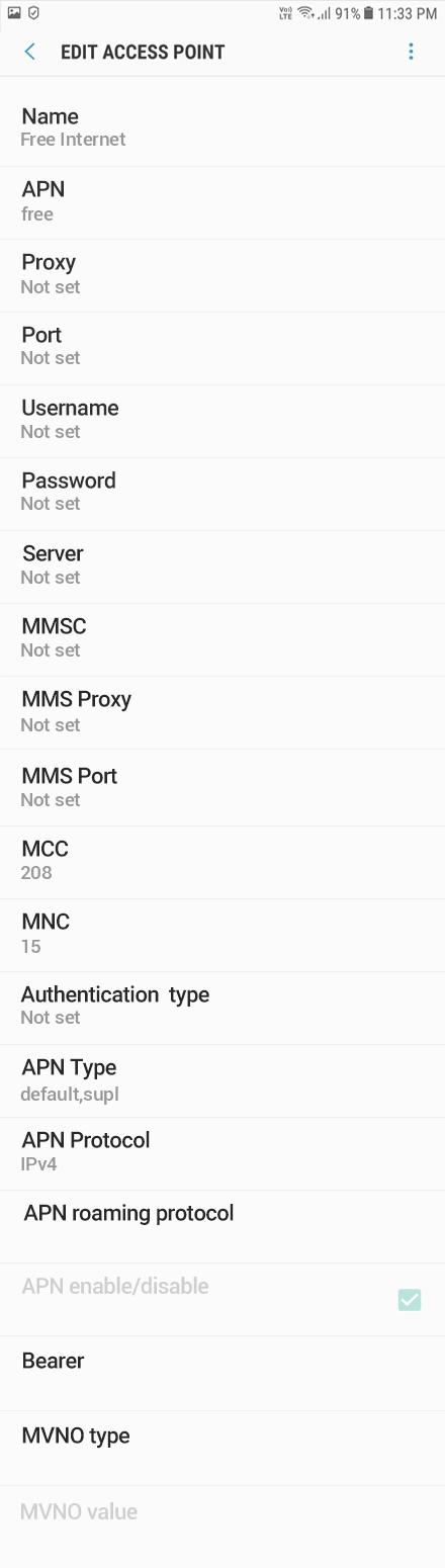 Free Internet APN settings for Android Oreo screenshot