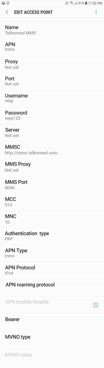 Telkomsel MMS APN settings for Android Oreo screenshot