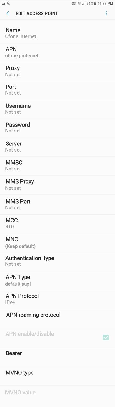 Ufone Internet APN settings for Android Oreo screenshot