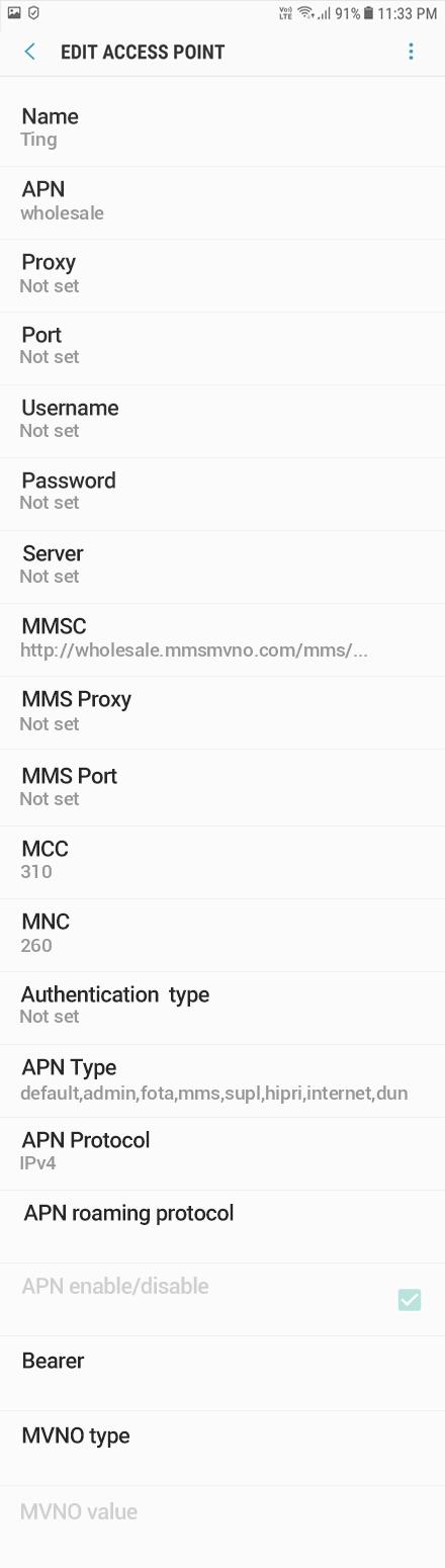 Ting  APN settings for Android Oreo screenshot