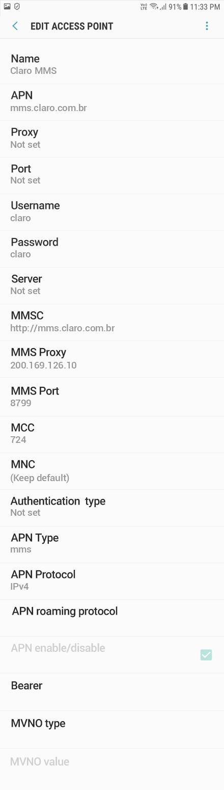 Claro MMS APN settings for Android Oreo screenshot