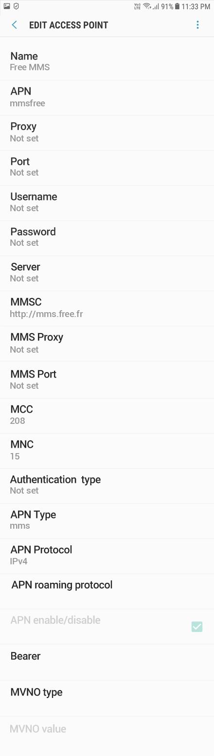 Free MMS APN settings for Android Oreo screenshot