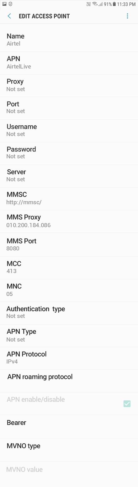 Airtel  APN settings for Android Oreo screenshot