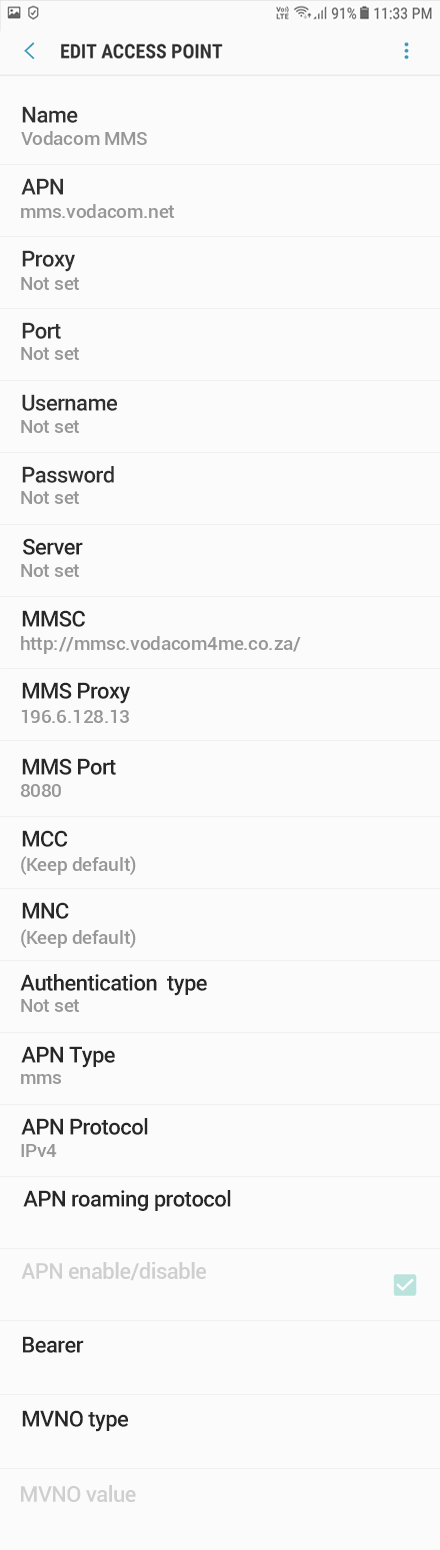 Vodacom MMS APN settings for Android Oreo screenshot
